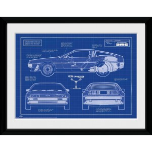Back to the Future Framed Print - Blueprint