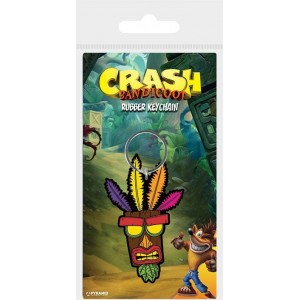 Crash Bandicoot Rubber Keyring - Aku Aku