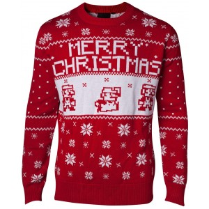 Super Mario Christmas Jumper - Knitted Red | Medium (M)